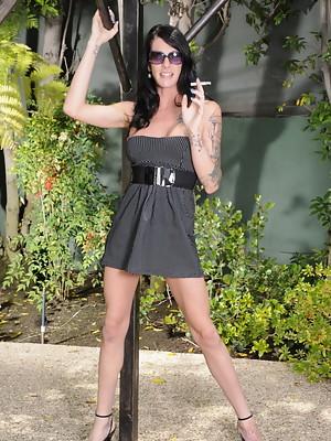Irresistible transsexual Morgan Bailey posing outdoors