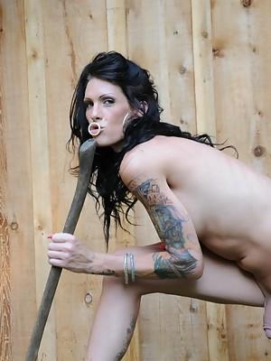 Transsexual hottie Morgan Bailey chopping wood